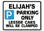 ELIJAH'S Personalised Gift |Unique Present for Him | Parking Sign - Size Large - Metal faced